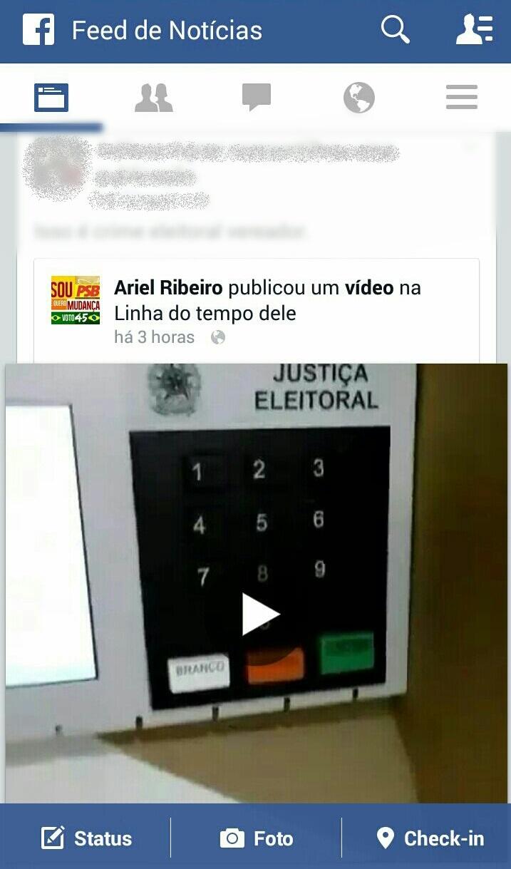 Vereador registra em vídeo o momento da votação e publica no Facebook. Foto Reprodução