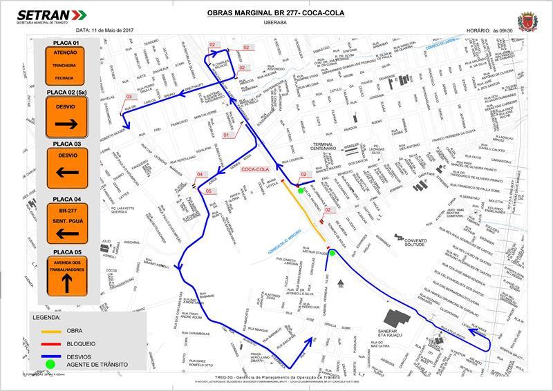 Mapa bloqueio de trânsito na trincheira da Avenida Jornalista Aderbal Gaertner Stresser
